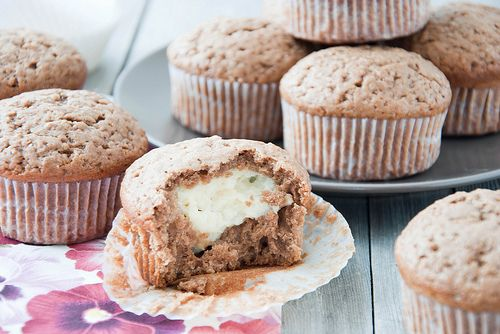Chocolate muffins with custard