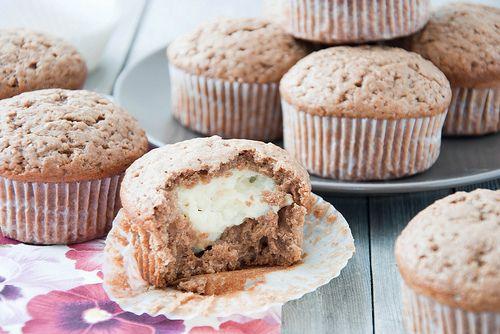 Chocolate muffins with custard