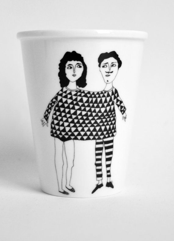 Brighten your breakfast with this porcelain cup with handmade illustration. Happy together in one shirt, cosy!    Height of the cup: 95 mm. Without