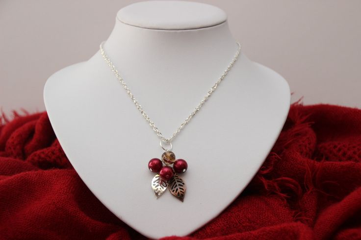 Stunning silver cherry cluster necklace ; A classy mix of silver, bronze and cherry red glass pearl beads by 4Dignity on Etsy