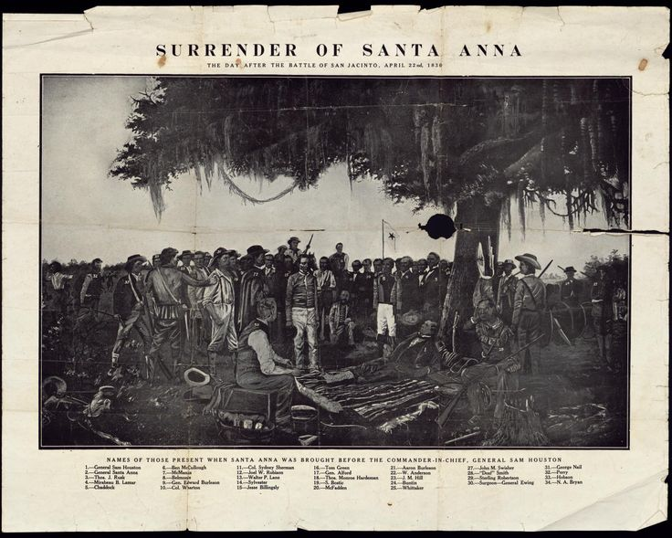 Print of Santa Anna's surrender to General Sam Houston at San Jacinto during the Texas Revolution . Courtesy of the Star of the Republic Museum.