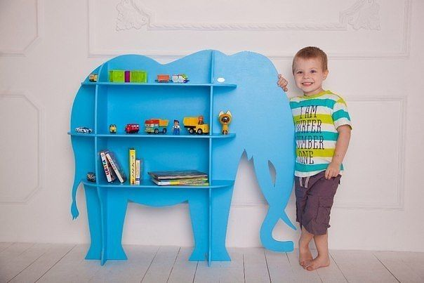 shelves in the nursery in the form of animals