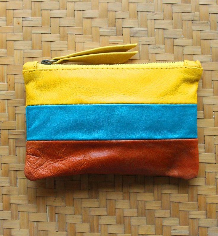 Warna Pouch Mustard Blue & Brown