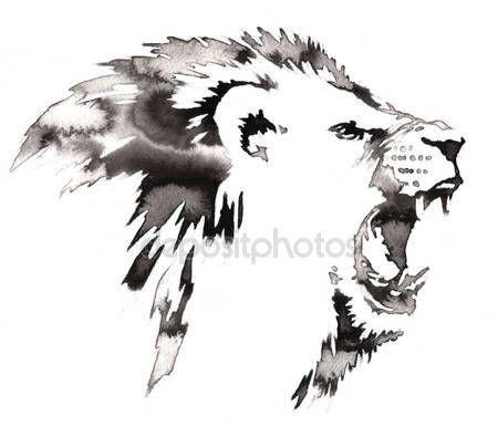 Скачать - Черно-белые монохромной живописи с водой и чернила рисовать иллюстрации Лев — стоковое изображение #116782478