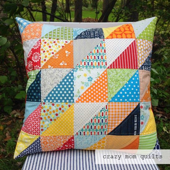 Guess what? I made another pillow! Arent you shocked? I started with an oh clementine charm pack...