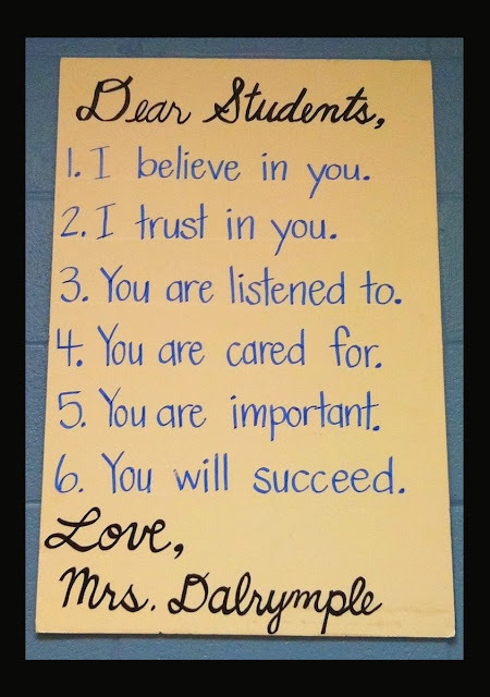 Love this letter!  It's very simple but communicates the most important things the students need to know.  Think I'm putting this on my wall.