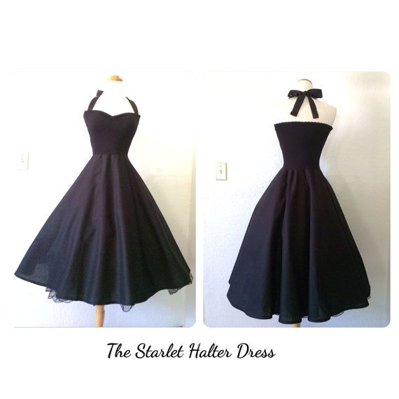 Available in MANY colors - the Starlet Halter Dress in BLACK Dahlia by MoonbootStudios, $136.50