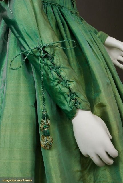 Lower Sleeve Detail, Green and Gold Silk Dress, 1840s