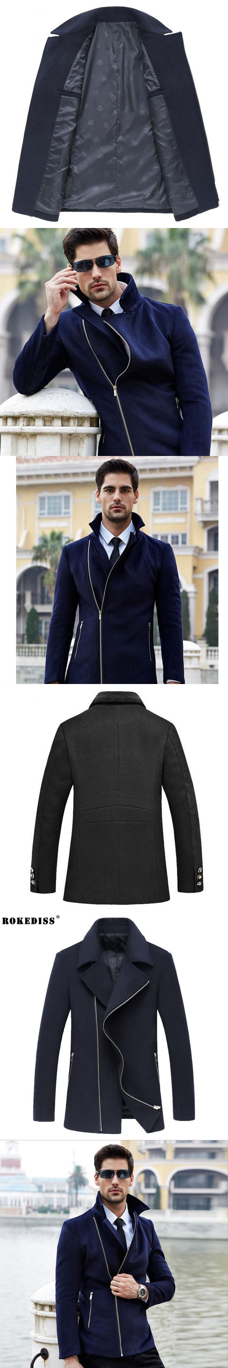 ROKEDISS 2017 New Wool Blends Suit Design Woolen Men's Casual Trench Overcoat Design Slim Jackets Coat for Men Z231