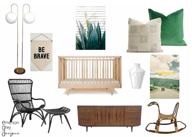 {a mid-century modern nursery}, neutral nursery design board with a walnut dresser, emerald green accents and gold globe floor lamp