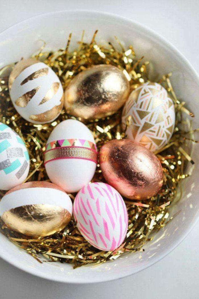 ostereier bemalen eier dekorieren gold kupfer messing klebeband