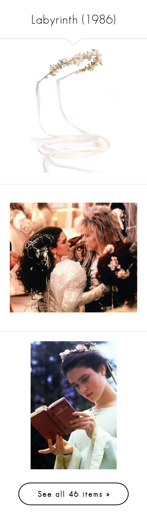"""""""Labyrinth (1986)"""" by namelessginger ❤ liked on Polyvore featuring accessories, hair accessories, hair, blush, beaded hair accessories, floral headwrap, beaded headwrap, hair band accessories, beaded headband and labyrinth"""