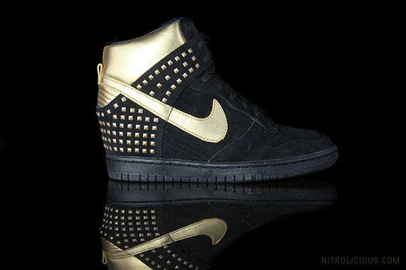 Nike Dunk Sky Hi Gold Stud via @wendy lam | Current Crush | Pinterest | Sky, Nike dunks and Sneakers fashion