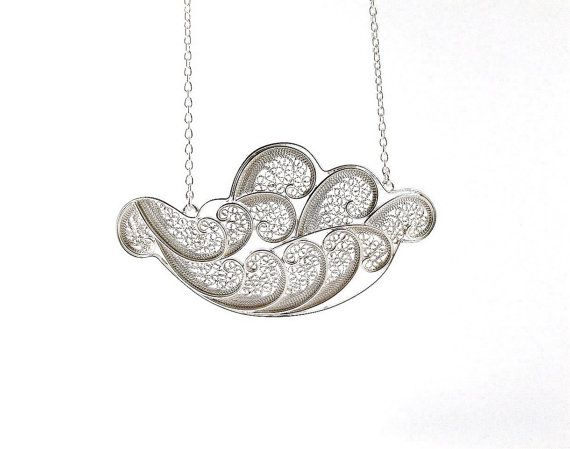 Wave Silver Filigree Necklace by SusanaTeixeiraJewels on Etsy