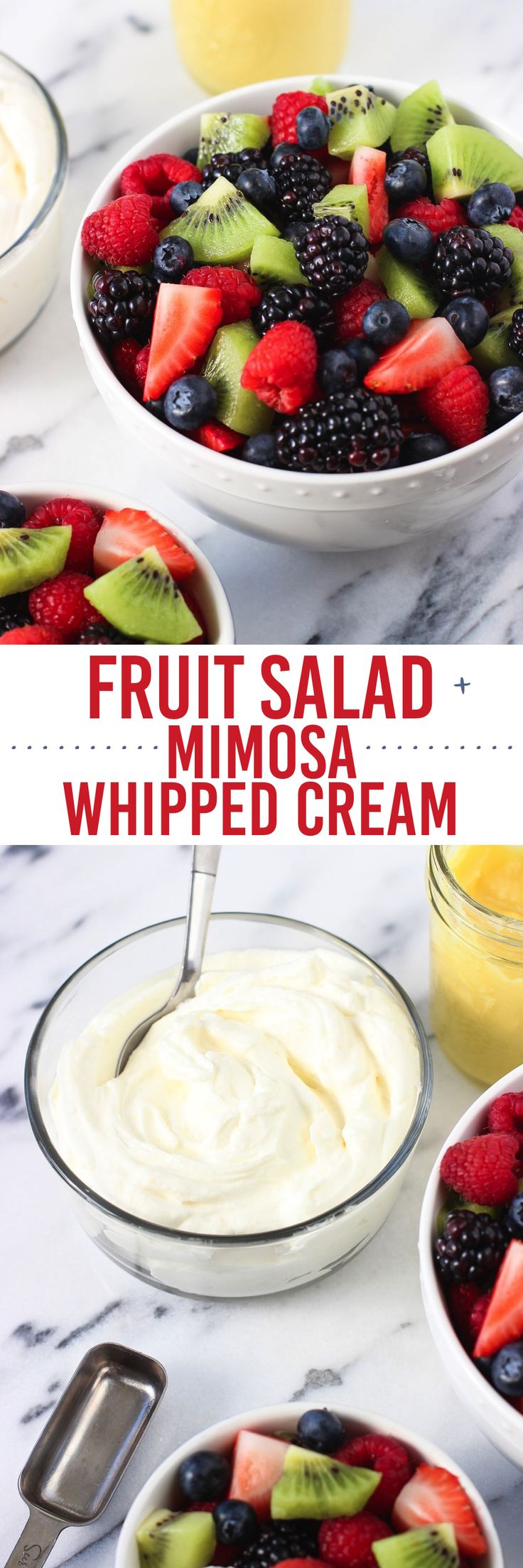 Fruit salad is fancied up with homemade mimosa whipped cream! A great recipe for spring and summertime brunch or entertaining.