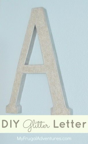 Super easy DIY Glitter Letter inspired by Pottery Barn Kids.  This was just $6 to make and is perfect easy decor for a child's room.
