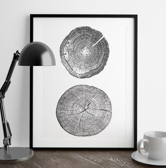 Tree Stump Tree Rings A4 ink blot log rings by Justmytypeprintshop