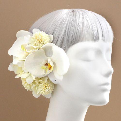 髪飾り・ヘッドドレス/白小菊と胡蝶蘭の髪飾り - ウェディングヘッドドレス&花髪飾りairaka