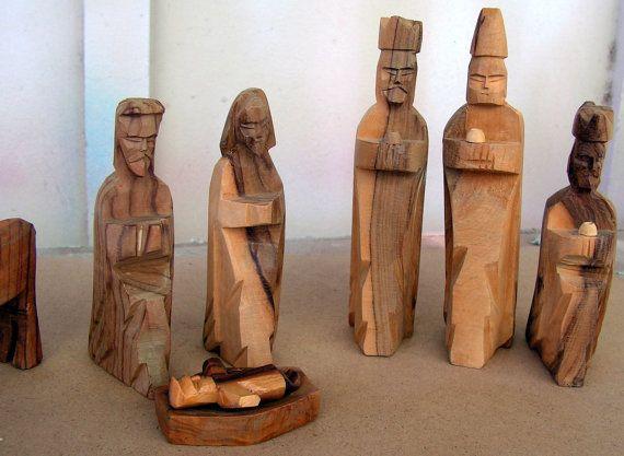 vintage hand carved wood nativity set wood carving figures - Wooden Nativity Set