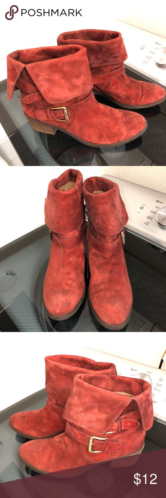 Donald J Pliner suede boots SZ 9.5 Danee-bv These boots have seen their better days, so selling cheap! No flaws, just need some spot cleaning. The pics make them look RED but they are more burgundy like the last pic. They are called Danee-bv Donald J. Pliner Shoes Ankle Boots & Booties