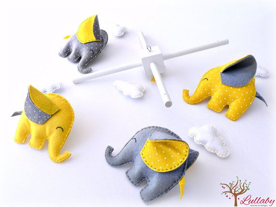 Felt Elephant baby mobile - yellow and grey - polkadots by LullabyMobiles