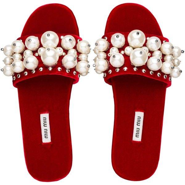 Miu Miu SLIPPERS ($650) ❤ liked on Polyvore featuring shoes, slippers, flats, sandals, miu miu shoes and miu miu