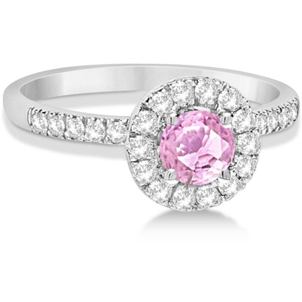 Allurez Enhanced Pink Diamond Engagement Ring Pave Halo 14K White Gold... ($2,625) ❤ liked on Polyvore featuring jewelry, rings, pink diamond ring, white gold engagement rings, 14k ring, pave diamond ring and white gold diamond rings