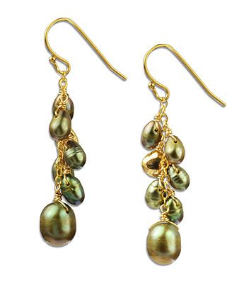 18k Gold over Sterling Silver Earrings, Green Cultured Freshwater Pearl (5-9mm) and Pyrite (2-1/3 ct. t.w.) Cluster Drop Earrings