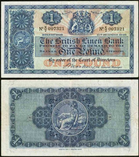 1948 One Pound Sterling BanknoteThe British Linen Bank Pick Number 157c Beautiful Extremely Fine Currency Note