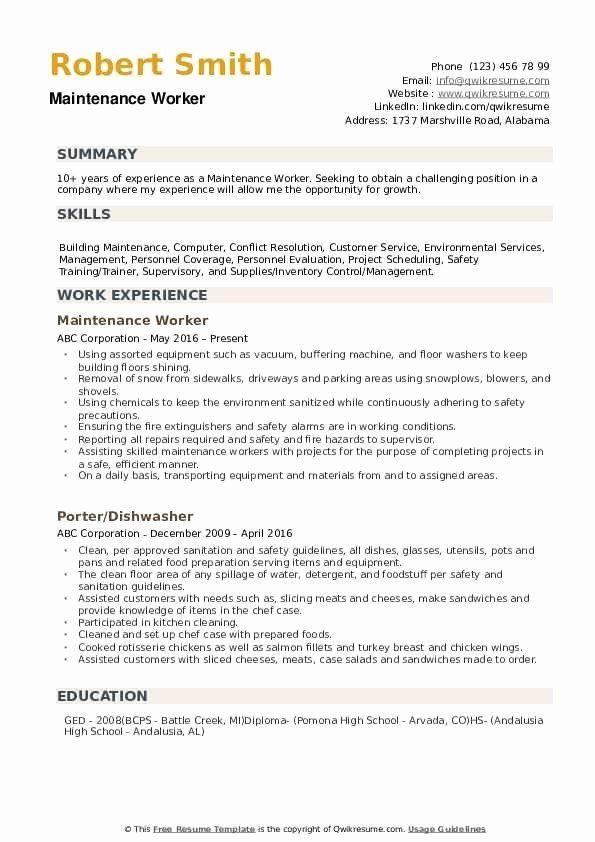Resume For Maintenance Worker Luxury Maintenance Worker Resume Samples Job Resume Samples Engineering Resume Templates Engineering Resume