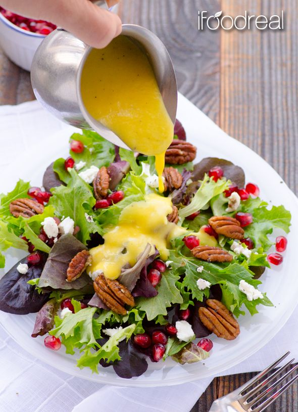 Baby Greens Salad with Pecans, Pomegranate, Goat Cheese and Mango Dressing - easy healthy salad that can be made ahead and dressing stays fresh for up to 5 days.