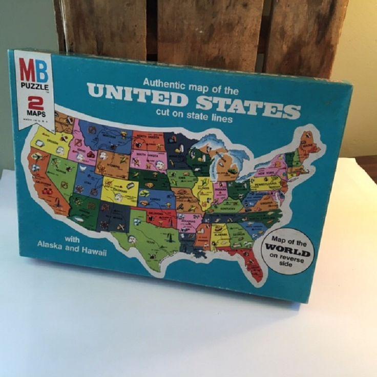 Enjoy Learning Us Map Puzzle%0A     s United States Map Puzzle  Milton Bradley  Unopened  Unused Puzzle     Maps
