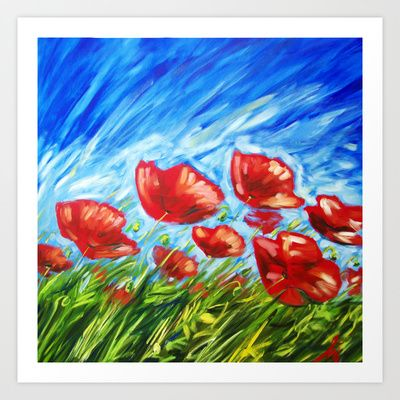 Poppies art pieces for sale http://society6.com/product/wild-poppies-by-ira-mitchell-kirk_print#1=45