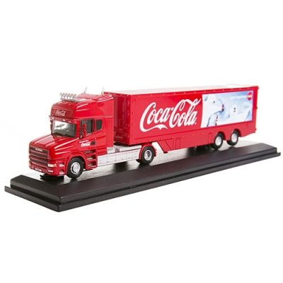 Diecast Coca-Cola Polar Bears Scania T Cab with Box Trailer 1:76 Scale