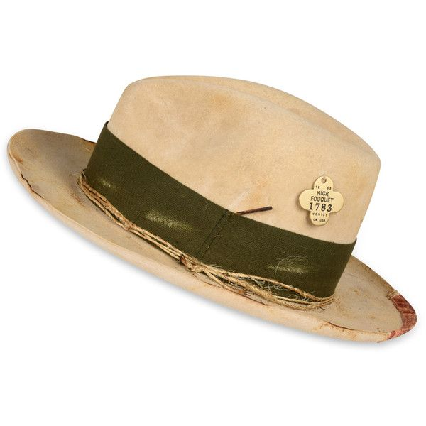 Nick Fouquet Felt Hat With Distressed Effect ($1,410) ❤ liked on Polyvore featuring accessories, hats, mens felt hat and mens distressed hats