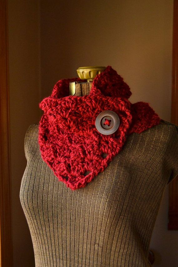 Red Button Scarf Neck Warmer Cowl by LazyTcrochet on Etsy