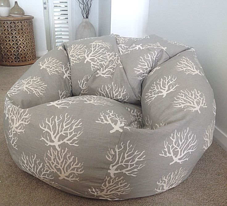 Grey Coral Bean Bag Cover, Natural, Grey Ivory, Coral beach House Decor Navy Blue, Grey, Turquoise, Coral, Grey Bean Bag by MyBeachsideStyle on Etsy