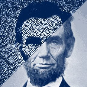 Stipplism product page example 1 - portrait of Abraham Lincoln in high quality vector stipple in Adobe Illustrator