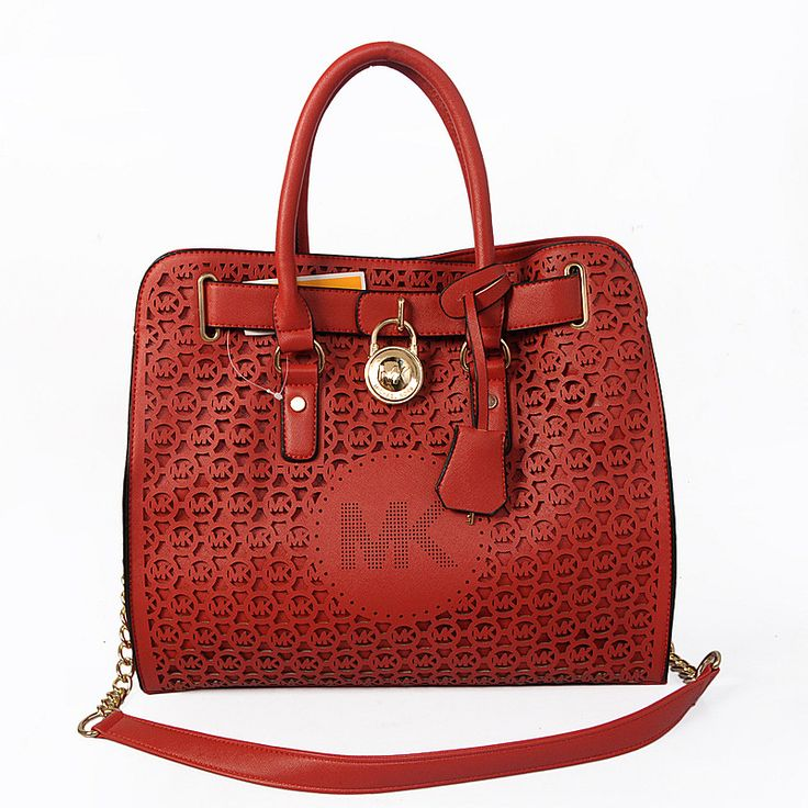Michael Kors Hamilton Perforated Big Logo Large Red Totes only $71.99
