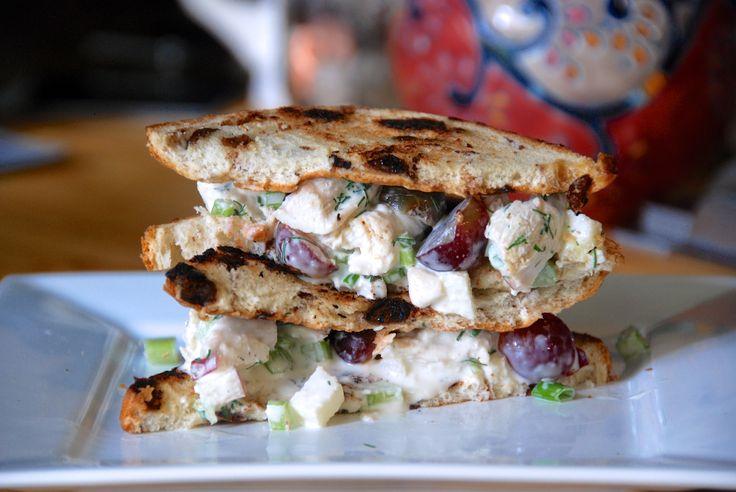 Homemade chicken salad.  (Or, my version of Panera's Napa-Almond-Chicken-Salad-Sandwich.) | http://tworedbowls.com/2013/07/12/homemade-chicken-salad-or-my-version-of-paneras-napa-almond-chicken-salad-sandwich/