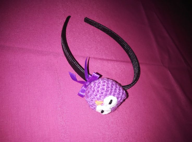 crochet hair band headband with amigurumi owl and satin bow by yrozaf on Etsy