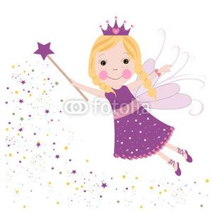 Peri Kızı Vektör Tasarımlarım * Cute fairytale purple stars shining vector