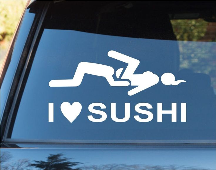 I Love Sushi Funny Car Window Windshield Lettering Decal Sticker