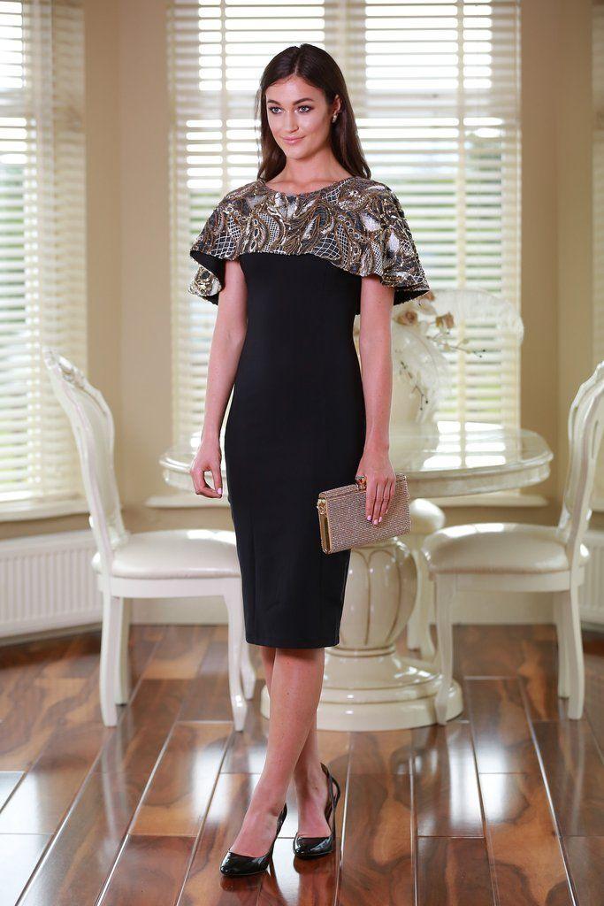 Chrystal Cape Black Dress
