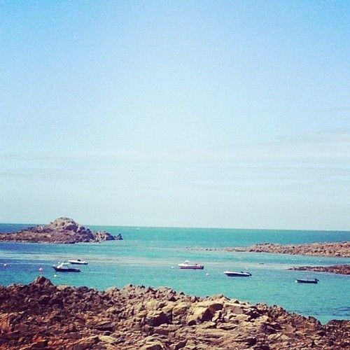 Little boats on Cobo Bay Beach, Guernsey