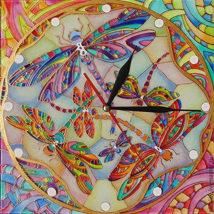"""Часы для дома ручной работы. Ярмарка Мастеров - ручная работа Часы """"Витражные стрекозы"""". Handmade."""