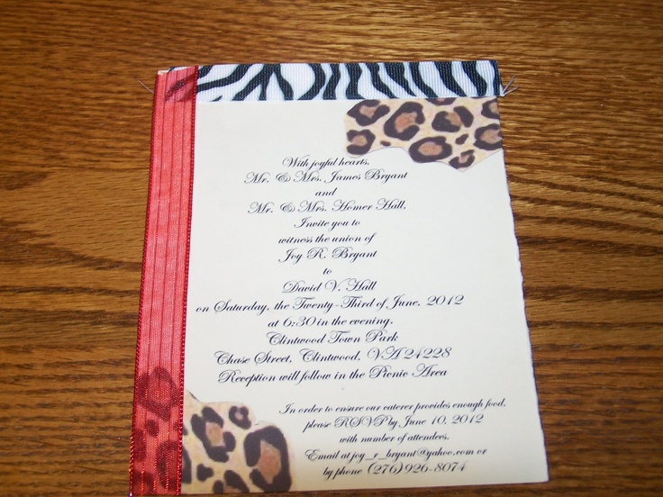 Wedding invitation in Zebra and Cheetah Print