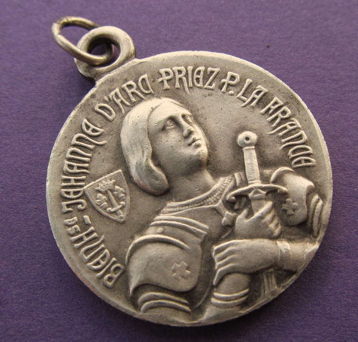 Joan of Arc Religious Medal Antique Pray For France Blessed Pre Canonization Catholic Pendant    SS255