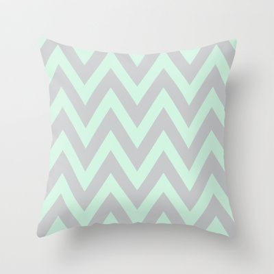 Mint & Gray Chevron Throw Pillow by daniellebourland - $20.00