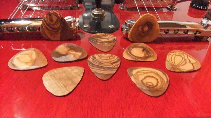 Guitar Picks, hand made olive wood Plectrums - set of 10 by ellenisworkshop on Etsy